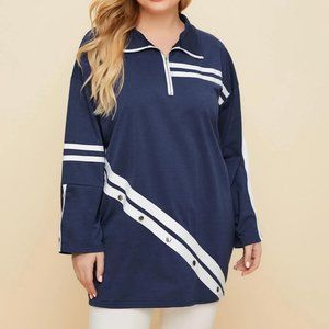 SHEIN Plus Size Striped Quarter Zip Color Block